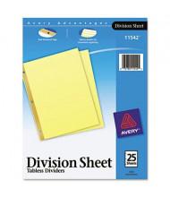 "Avery 8-1/2"" x 11"" Untabbed Sheet Dividers, Buff, 25/Pack"