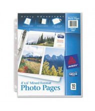 """Avery Six 4"""" x 6"""" 3-Hole Punched Mixed Format Photo Pages, 10/Pack"""