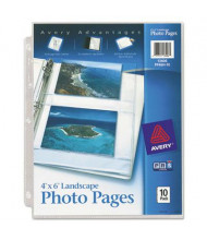 """Avery Four 4"""" x 6"""" 3-Hole Punched Horizontal Photo Pages, 10/Pack"""