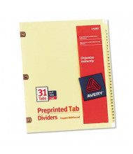 Avery 1-31 Copper Reinforced 31-Tab Letter Dividers, Buff, 1 Set