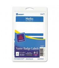 "Avery 3-3/8"" x 2-11/32"" Printable ""Hello"" Self-Adhesive Name Badges, Blue, 100/Pack"