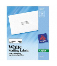 """Avery 2-13/16"""" x 1"""" Copier Mailing Labels, White, 3300/Box"""