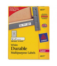"""Avery 3"""" x 5/8"""" Permanent Durable Multi-Use Laser Labels, White, 1600/Pack"""