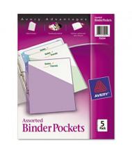 "Avery 20-Sheet 8-1/2"" x 11"" Binder Pockets, Assorted, 5 Pockets/Pack"