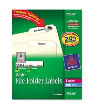 "Avery 3-7/16"" x 2/3"" Self-Adhesive Laser & Inkjet File Folder Labels, White, 1800/Box"