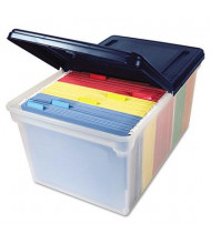 """Innovative 14-1/2"""" D Letter File Tote Storage Box w/ Lid, Navy"""