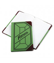 """Boorum & Pease 6"""" x 9-1/2"""" 208-Page Miniature Account Book, Green/Red Canvas Cover"""