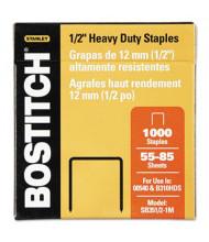 """Stanley Bostitch 85-Sheet Capacity Heavy-Duty Staples, 1/2"""" Leg, 1000/Box"""