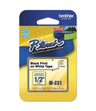 """Brother P-Touch M231 M Series 1/2"""" x 26.2 ft. Tape Cartridge, Black on White"""