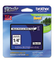 """Brother P-Touch TZE211 TZe Series 1/4"""" x 26.2 ft. Standard Labeling Tape, Black on White"""