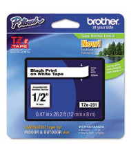 """Brother P-Touch TZE231 TZe Series 1/2"""" x 26.2 ft. Standard Labeling Tape, Black on White"""