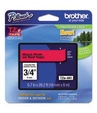"""Brother P-Touch TZE441 TZe Series 3/4"""" x 26.2 ft. Standard Labeling Tape, Black on Red"""