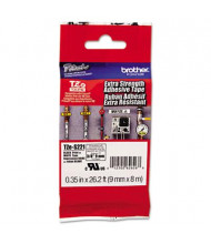 """Brother P-Touch TZES221 TZe Series 3/8"""" x 26.2 ft. Labeling Tape, Black on White"""