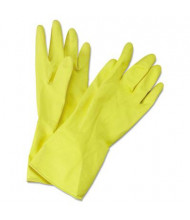 Boardwalk Medium Flock-Lined Latex Cleaning Gloves, Yellow, 12 Pairs