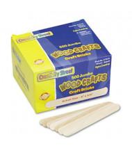 "Chenille Kraft 6"" x 3/4"" Jumbo Size Natural Wood Craft Sticks, 500/Box"