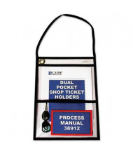 """C-Line 9"""" x 12"""" Dual-Pocket Clear Shop Ticket Holder with Strap, 15/Box"""