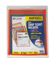 """C-Line 9"""" x 12"""" Stitched Shop Ticket Holder, Assorted Colors, 10/Box"""
