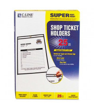 "C-Line 9"" x 12"" Clear Stitched Shop Ticket Holder, 25/Box"