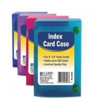"""C-Line Polypropylene Index Card Case, Holds 200 4"""" x 6"""" Cards, Assorted"""