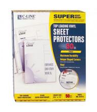 """C-Line 8-1/2"""" x 11"""" Super Heavyweight Clear Vinyl Sheet Protectors, 50/Box"""