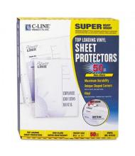 "C-Line 8-1/2"" x 11"" Super Heavyweight Non-Glare Vinyl Sheet Protectors, 50/Box"