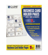 """C-Line 8-1/2"""" x 11"""" 20-Card Tabbed Binder Pages, 5/Pack"""