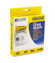 C-Line 50-Pack Deluxe Individual CD & DVD Holders