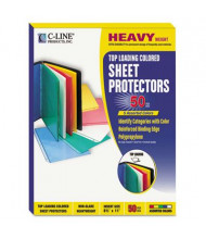 "C-Line 8-1/2"" x 11"" Top-Load Colored Poly Sheet Protectors, 50/Box"
