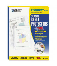 "C-Line 8-1/2"" x 11"" Top-Load Economy Poly Sheet Protectors, 100/Box"