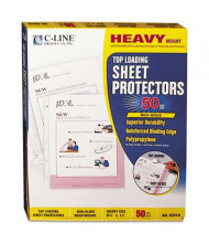 "C-Line 8-1/2"" x 11"" Top-Load Heavyweight Non-Glare Poly Sheet Protectors, 50/Box"