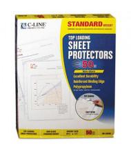 "C-Line 8-1/2"" x 11"" Top-Load Standard Non-Glare Poly Sheet Protectors, 50/Box"
