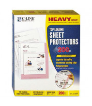 """C-Line 8-1/2"""" x 11"""" Top-Load Heavyweight Clear Poly Sheet Protectors, 200/Box"""