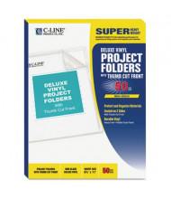 C-Line Deluxe Letter Vinyl Jacket Folders, Clear, 50/Box