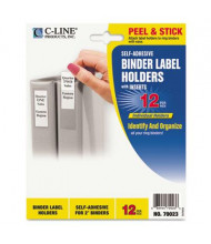 """C-Line 1-3/4"""" x 2-3/4"""" Self-Adhesive Binder Label Holders, Clear, 12/Pack"""