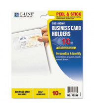 """C-Line 3-1/2"""" x 2"""" Side-Load Self-Adhesive Business Card Holders, 10/Pack"""