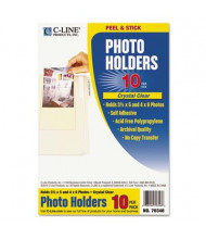 """C-Line 4-3/8"""" x 6-1/2"""" Peel & Stick Photo Holders for 3"""" x 5"""" & 4"""" x 6"""" Photos, 10/Pack"""