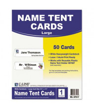 """C-Line 4-1/4"""" X 11"""", 50-Cards, White Tent Card Stock"""