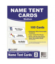 """C-Line 2-1/2"""" X 11"""", 100-Cards, White Tent Card Stock"""