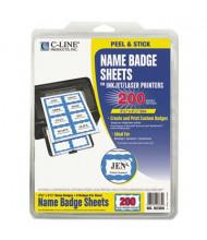 "C-Line 3-3/8"" x 2-1/3"" Self-Adhesive Printable Name Badges, Blue, 200/Box"