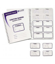 """C-Line 3-1/2"""" x 2"""" Visitor Badges with Registry Log, White, 150/Box"""