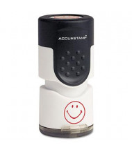 """Accustamp """"Smiley"""" Pre-Inked Round Stamp with Microban, Red Ink, 5/8"""""""