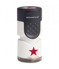 """Accustamp """"Star"""" Pre-Inked Round Stamp with Microban, Red Ink, 5/8"""""""