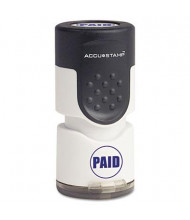 """Accustamp """"Paid"""" Pre-Inked Round Stamp with Microban, Blue Ink, 5/8"""""""