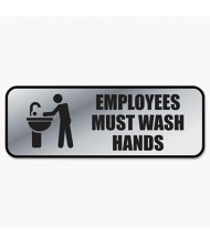 """Cosco 9"""" W x 3"""" H Employees Must Wash Hands Metal Office Sign"""