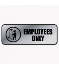 """Cosco 9"""" W X 3"""" H Employees Only Metal Office Sign"""