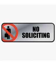 """Cosco 9"""" W x 3"""" H No Soliciting Metal Office Sign"""
