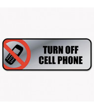 """Cosco 9"""" W x 3"""" H Turn Off Cell Phone Metal Office Sign"""