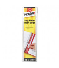 """Cardinal 3/4"""" Width HOLDit! Self-Adhesive Multi-Punched Binder Insert Strips, 25 Inserts"""