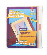 "Cardinal 8-1/2"" x 11"" Index Tab Ring Binder Divider Pockets, Assorted, 5/Pack"