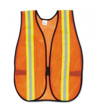 "MCR Safety Crews Orange Polyester Safety Vest with 2"" Reflective Strips & Side Straps, One Size"